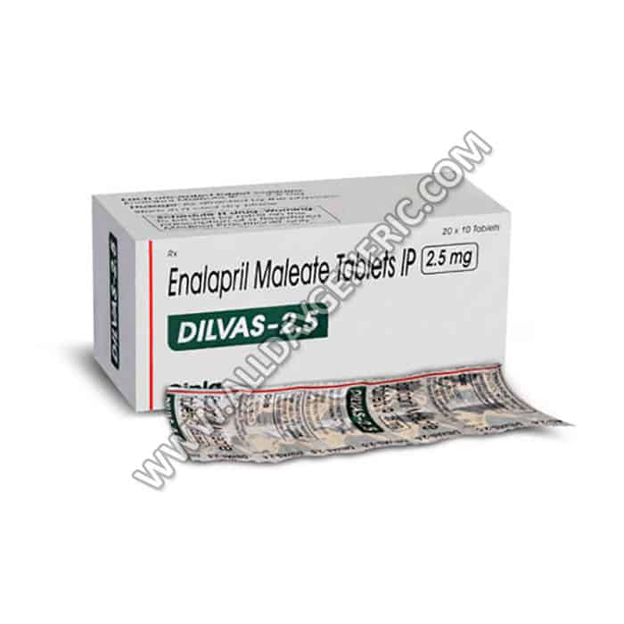 Dilvas 2.5 mg Tablet, Enalapril 2.5 mg, Hypertension Pills