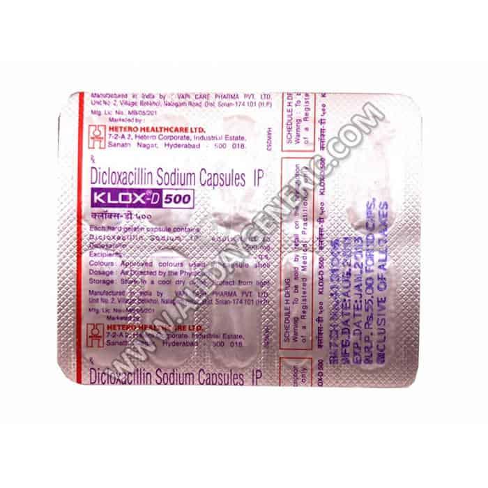 Klox-D 500 mg, dicloxacillin, doxycycline bacterial infection