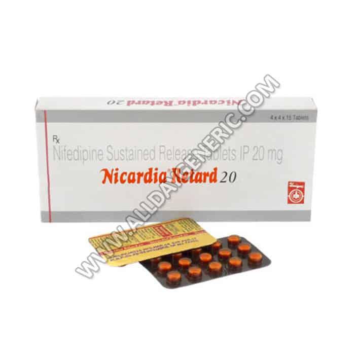 Nifedipine 20 mg Tablets (Nicardia Retard 20 mg)