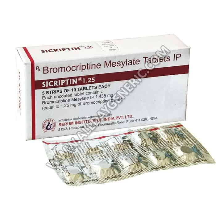 Sicriptin 1.25 mg (Bromocriptine)