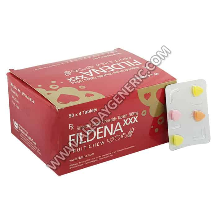 Fildena XXX Fruit Chew (Sildenafil Citrate Chewable Tablets 100mg)
