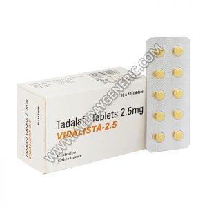 Tadalafil 2.5 mg, Vidalista 2.5 mg, tadalafil cost